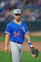 Connor Joe (34) of the Oklahoma City Dodgers on defense against the Salt Lake Bees at Smith's Ballpark on July 31, 2019 in Salt Lake City, Utah. The Dodgers defeated the Bees 5-3. (Stephen Smith/Four Seam Images)