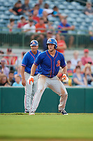 St. Lucie Mets left fielder Tim Tebow (15) leads off third base in front of manager Chad Kreuter (back) in the top of the eighth inning during a game against the Florida Fire Frogs on July 23, 2017 at Osceola County Stadium in Kissimmee, Florida.  St. Lucie defeated Florida 3-2.  (Mike Janes/Four Seam Images)
