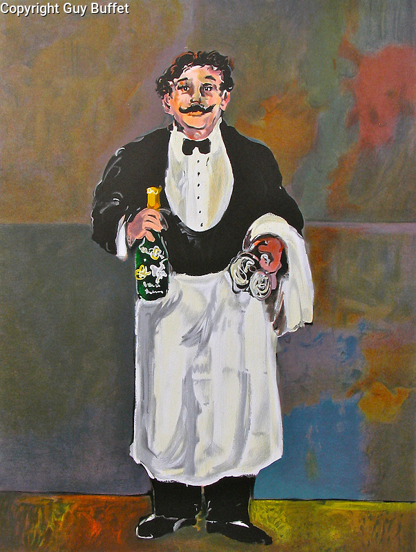 """""""Le Sommelier""""<br /> Limited Edition Lithograph Paper 23x17.5<br /> AP w/Original Watercolor Remarque Only Available $3,100<br /> Champagne Perrier Jouet displays this beautiful piece on the staircase of its' Maison Belle Epoche in Epenay, France, along with many more originals by Guy Buffet. It is the inspiration for """"Gaston"""", the bronze sculpture that can be viewed in the """"Guy Buffet Museum"""" section of this site."""