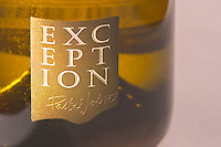 A bottle of Sancerre Exception by Pascal Jolivet - close-up of the label - Loire Valley, France
