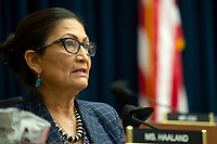 United States Representative Debra Haaland (Democrat of New Mexico) is seen during a House Natural Resources Committee hearing on Monday, June 29, 2020 to discuss the recent incident with U.S. Park Police removing protesters and journalists on June 1st at St. John's Episcopal Church near the White House for President Trump to conduct a photo op.<br /> Credit: Bonnie Cash / Pool via CNP / MediaPunch