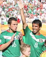 Pavel Prado (8) and Mario Mendez (16) before the start of the game.Mexico defeated Iran 3-1 during a World Cup Group D match at Franken-Stadion, Nuremberg, Germany on Sunday June 11, 2006.