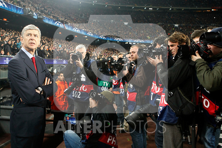 Arsenal's coach Arsene Wenger during UEFA Champions League match.March 8,2011. (ALTERPHOTOS/Acero)