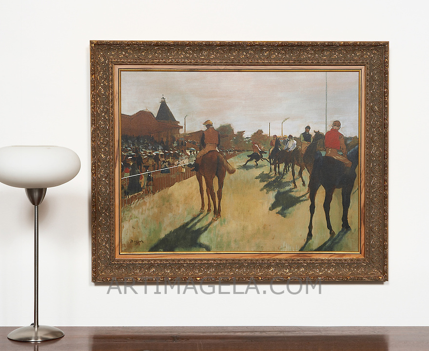 Degas: Race Horses in Front Of The Stands, Digital Print,Framed Dims.<br /> 31&quot; x 38.5&quot; x 2&quot;