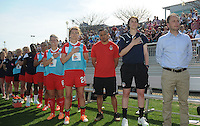 Boyds MD - April 13, 2014: Washington Spirit Head Coach Mark Parsons during the signing of the National Anthem. The Western New York Flash defeated the Washington Spirit 3-1 in the opening game of the 2014 season of the National Women's Soccer League at the Maryland SoccerPlex.