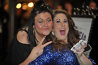 Pictured: Two women celebrate in the early hours of New Year's Day. Sunday 01 January 2017<br />