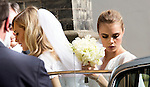 Poppy Delevigne wedding knightsbridge today<br /> <br /> church arrivals<br /> <br /> Sister Cara Delevigne with helps sister out of the car but she seems to lose her veil<br /> <br /> <br /> <br /> <br /> Pic by Gavin Rodgers/Pixel 8000 Ltd