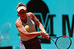 Elina Svitolina of Ukaine in action against Pauline Parmentier of France during day two of the Mutua Madrid Open at La Caja Magica on May 05, 2019 in Madrid, Spain.