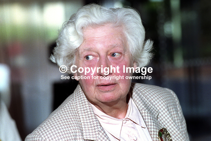Baroness Seear, deputy leader, Liberal Democrats, UK, 19920902BS.<br /> <br /> Copyright Image from Victor Patterson, 54 Dorchester Park, Belfast, UK, BT9 6RJ<br /> <br /> t1: +44 28 9066 1296 (from Rep of Ireland 048 9066 1296)<br /> t2: +44 28 9002 2446 (from Rep of Ireland 048 9002 2446)<br /> m: +44 7802 353836<br /> <br /> e1: victorpatterson@me.com<br /> e2: victorpatterson@gmail.com<br /> <br /> The use of any of my copyright images is subject to my Terms &amp; Conditions.<br /> <br /> It is IMPORTANT that you familiarise yourself with them. They are available on my website, victorpatterson.com.<br /> <br /> None of my copyright images may be used on the Internet unless they are visibly watermarked, i.e. &copy; Victor Patterson within the body of the image. Metadata denoting my copyright must NOT be deleted. <br /> <br /> Web use is extra at currently recommended NUJ rates.
