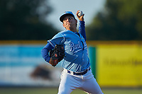 Burlington Royals relief pitcher Wilmer Jimenez (47) in action against the Johnson City Cardinals at Burlington Athletic Stadium on September 3, 2019 in Burlington, North Carolina. The Cardinals defeated the Royals 7-2 to even Appalachian League Championship series at one game a piece. (Brian Westerholt/Four Seam Images)