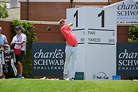 Joaquin Niemann (CHL) watches his tee shot on 1 during round 1 of the 2019 Charles Schwab Challenge, Colonial Country Club, Ft. Worth, Texas,  USA. 5/23/2019.<br /> Picture: Golffile | Ken Murray<br /> <br /> All photo usage must carry mandatory copyright credit (© Golffile | Ken Murray)