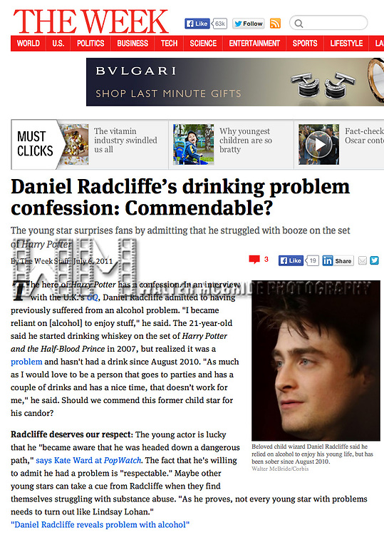 Daniel Radcliffe in The Week 7/6/11