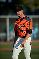 AZL Giants Orange relief pitcher Nick Morreale (40) walks off the field between innings of an Arizona League game against the AZL Mariners on July 18, 2019 at the Giants Baseball Complex in Scottsdale, Arizona. The AZL Giants Orange defeated the AZL Mariners 7-4. (Zachary Lucy/Four Seam Images)