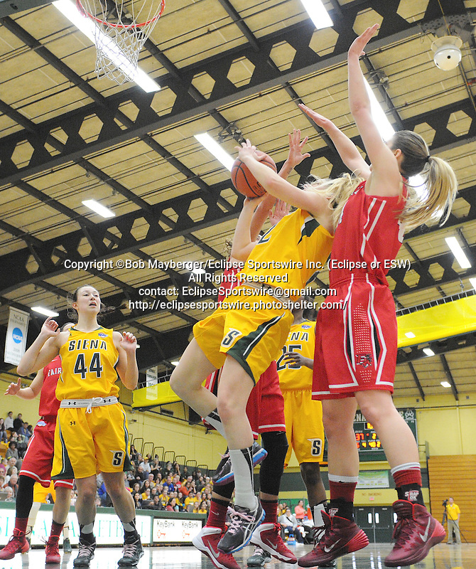 Game action from a Metro Atlantic Athletic Conference game which saw Fairfield defeat Siena 57-47 on February 23, 2014 at the Alumni Recreation Center in Loudonville, New York.  (Bob Mayberger/Eclipse Sportswire)