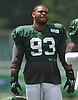 Deon Simon #93 of the New York Jets stretches during training camp at the Atlantic Health Jets Training Center in Florham Park, NJ on Friday, Aug. 4, 2017.