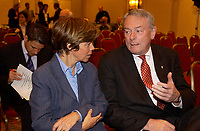 June 3, 2002, Montreal, Quebec, Canada; <br /> <br /> Louis Beaudoin, Quebec State Minister, International Relations (L)<br />  Richard Pound, Chairman of the World Anti-<br /> Doping Agency (R) <br /> discuss berfore signing an agreemeent regarding the Agency's new headquarter in Montreal, June 3, 2002<br /> <br /> <br /> <br /> <br /> (Mandatory Credit: Photo by Sevy - Images Distribution (©) Copyright 2002 by Sevy<br /> <br /> NOTE :  D-1 H original JPEG, saved as Adobe 1998 RGB
