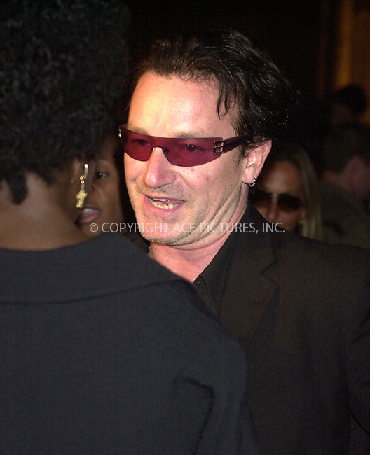 WWW.ACEPIXS.COM . . .  ....NEW YORK, SEPTEMBER 19, 2002 ....STOCK PHOTO: BONO AT FALL FASHION WEEK....Please byline: ACE007 - ACE PICTURES... *** ***  ..Ace Pictures, Inc:  ..Philip Vaughan (646) 769-0430..e-mail: info@acepixs.com..web: http://www.acepixs.com