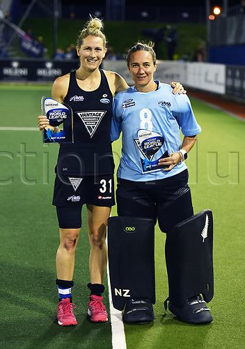 26th November 2017, North Harbour Hockey, Auckland, New Zealand; Hockey World League Final, Netherlands versus New Zealand;  Stacey Michelsen with player of the tournament and Sally Rutherford with best goalkeeper awards