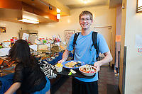 Occidental College Chefs' Showcase (co-sponsored by OSL) part of Food Justice Month. Get to know some of the amazing people responsible for the food you eat at Oxy and enjoy their favorite recipes. Featuring: Ben Jauregui's Spanish Paella, Ofelia Martinez's Posole Soup, Kenneth Bernard's Original Beer Battered Cod and Mirna Quintanilla's Arroz Con Leche De Coco Y Mango, Oct. 21, 2011. (Photo by Marc Campos, Occidental College Photographer)