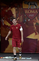 Calcio, Serie A: Roma, stadio Olimpico, 28 maggio 2017.<br /> AS Roma's Francesco Totti enters the field for his final salute to his fans after the Italian Serie A football match between Roma and Genoa at the Olympic stadium in Rome, Sunday, May 28, 2017. <br /> Francesco Totti's final match with Roma after a 25-season career with his hometown club.<br /> UPDATE IMAGES PRESS/Isabella Bonotto