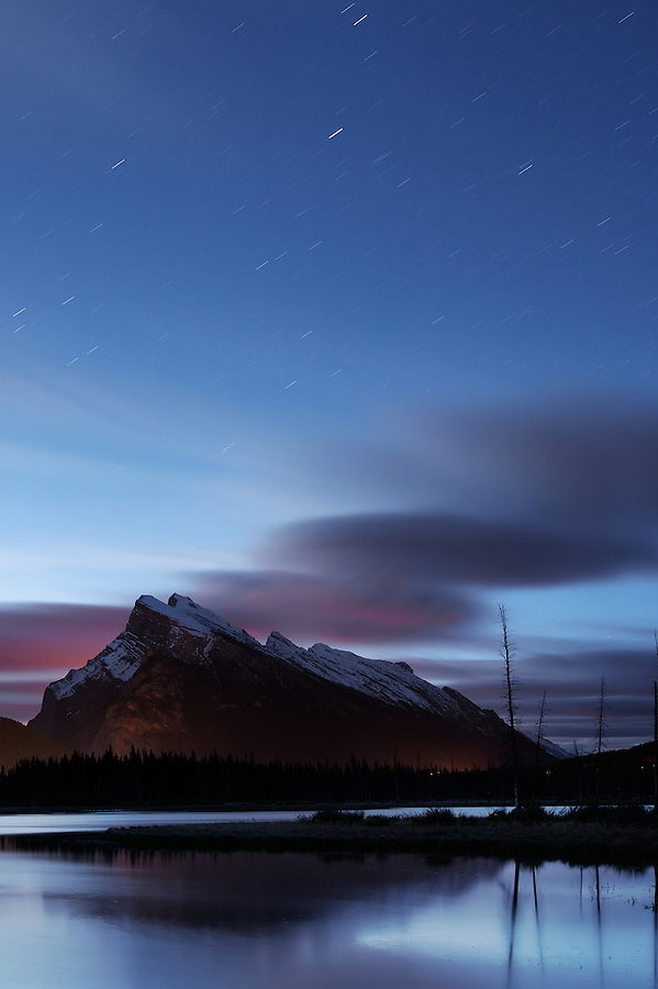 Rundle Mountain above Vermillion Lakes at dusk, Banff National Park, Canadian Rockies, Alberta, Canada