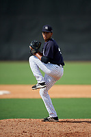 New York Yankees pitcher Juan Then (41) delivers a pitch during a Florida Instructional League game against the Philadelphia Phillies on October 11, 2018 at Yankee Complex in Tampa, Florida.  (Mike Janes/Four Seam Images)
