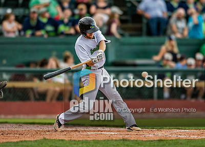 21 July 2019: Vermont Lake Monsters outfielder Michael Woodworth connects for an infield base hit in the 3rd inning against the Tri-City ValleyCats at Centennial Field in Burlington, Vermont. The Lake Monsters rallied to defeat the ValleyCats 6-3 in NY Penn League play. Mandatory Credit: Ed Wolfstein Photo *** RAW (NEF) Image File Available ***