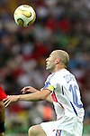 09 July 2006: Zinedine Zidane (FRA). Italy tied France 1-1 in overtime at the Olympiastadion in Berlin, Germany in match 64, the championship game, of the 2006 FIFA World Cup Finals. Italy won the World Cup by defeating France 5-3 on penalty kicks.