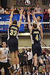 27 APR 2014: Springfield College and Juniata College compete during the Division III Men's Volleyball Championship held at the Kennedy Sports Center in Huntingdon, PA. Springfield defeated Juniata 3-0 to win the national title.  Mark Selders/NCAA Photos