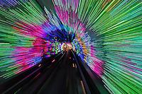 Lighted subway tunnel, Shanghai, China