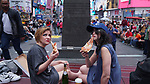 &copy;2017 David Burnett/ Contact<br /> July 25 2017<br /> New York NY<br /> <br /> Jordan Kai Burnett &amp; Daisy Eagan / Times Square<br /> &quot;Brunch of Shame&quot; #4    &quot;Return to New York!!!&quot;