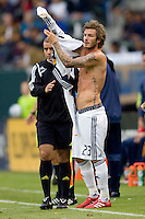 LA Galaxy midfielder David Beckham changes his shirt after being bloodied. The LA Galaxy defeated FC Dallas 2-1 at Home Depot Center stadium in Carson, California on Sunday October 24, 2010.
