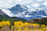 The edge of winter in Glacier National park.  Mt. Gould sporting the first dusting of snow of late autumn