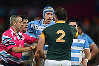 Tempers flare between Matias Alemanno of Argentina and Bismarck Du Plessis of South Africa. Rugby World Cup Bronze Final between South Africa and Argentina on October 30, 2015 at The Stadium, Queen Elizabeth Olympic Park in London, England. Photo by: Patrick Khachfe / Onside Images
