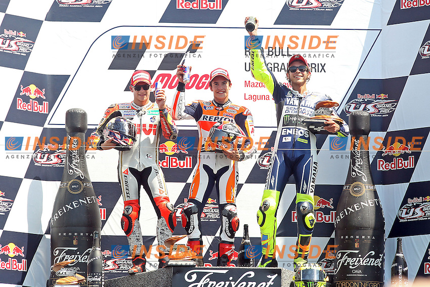 Stefan Bradl - LCR Honda team, Marc Marquez - Honda Repsol team and Valentino Rossi - Yamaha factory team<br /> Podio<br /> 21-07-2013 Laguna Seca (USA)<br /> Motogp world championship<br /> Photo Semedia/Insidefoto<br /> ITALY ONLY