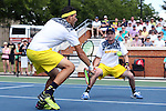 14 May 2016: Michigan's Myles Schalet and Tyler Gardiner (behind). The Wake Forest University Demon Deacons hosted the University of Michigan Wolverines at the Wake Forest Tennis Center in Winston-Salem, North Carolina in a 2015-16 NCAA Division I Men's Tennis Tournament Second Round match. Wake Forest won the match 4-2.