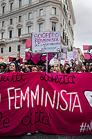 Rome, March 8, 2019. People take part in a demonstration to mark the International Women's Day, in Rome. The day, sponsored by the United Nations since 1975, celebrates women's achievements and aims to further their rights. <br /> Ph. Antonello Nusca/Buenavista Photo