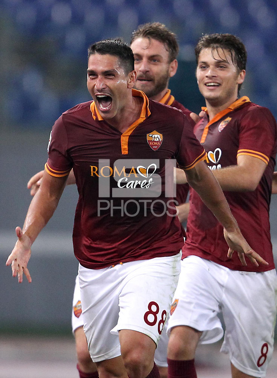 ROMA, Italy: October 31, 2013: As Roma beats AC Chievo Verona 1-0 during the Serie A match played in the Olimpico Stadium. In the photo Marco Borriello (R) celebrating the decisive goal scored