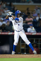 Eugenio Velez (4) of the Durham Bulls at bat against the Scranton/Wilkes-Barre RailRiders at Durham Bulls Athletic Park on May 15, 2015 in Durham, North Carolina.  The RailRiders defeated the Bulls 8-4 in 11 innings.  (Brian Westerholt/Four Seam Images)