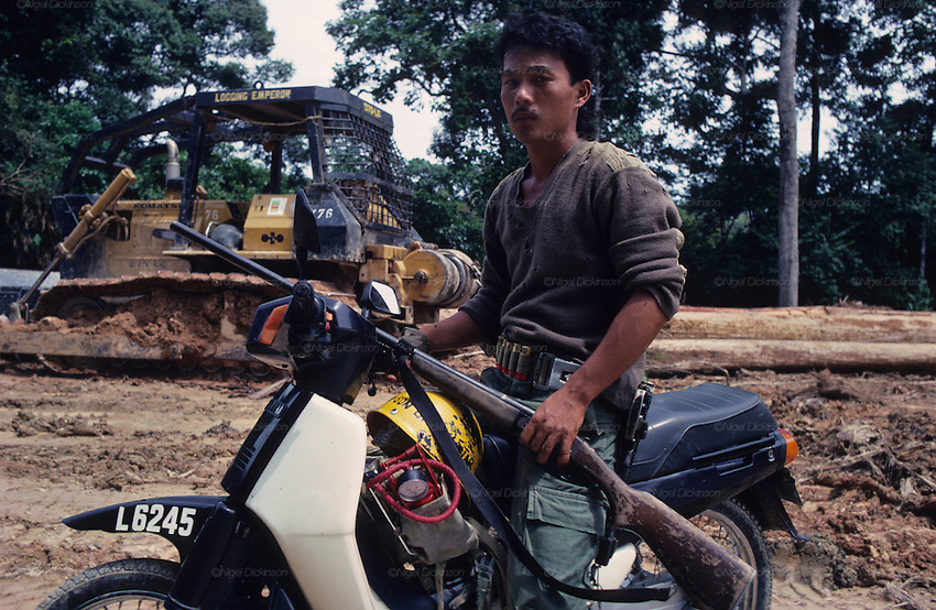1989: Kelabit native, Fredrick Ngareng, in his early twenties, with shotgun and a Honda 50cc motorbike. Behind him is logging with caterpillar and logging camp. Near Long Napir, Limbang district, Sarawak, Borneo<br />