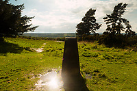 "A spot thought to be Christopher Robin's ""Enchanted Place"", Ashdown Forest, Sussex, UK, May 19, 2017. Picturesque Ashdown Forest stretches across the countries of Surrey, Sussex and Kent, and is the largest open access space in the South East of England. It is famous as the geographical inspiration for the Winnie the Pooh stories and is popular with fans of the characters."