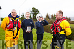 Cian O'Gara tries on the helmet of Guy Waugh (RNLI) during their visit to the Spa National School on Friday last for a special presentation and workshops to highlight the work they do and to mark the Royal visit to Fenit last year. L to r,  Kevin Honeyman (RNLI), Rosie Falvey, Cian O'Gara, and Guy Waugh (RNLI).