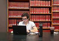 Sebastian Salazar '20 studies for his partial differential equations final.<br />