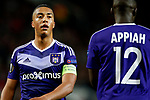 Youri Tielemans of Anderlecht and Dennis Appiah  during the UEFA Europa League Quarter Final 2nd Leg match at Old Trafford, Manchester. Picture date: April 20th, 2017. Pic credit should read: Matt McNulty/Sportimage