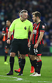 2nd February 2019, Cardiff City Stadium, Cardiff, Wales; EPL Premier League football, Cardiff City versus AFC Bournemouth; Referee Jonathan Moss speaks with Ryan Fraser of Bournemouth