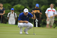 Paul Casey (Europe) on the 14th green during the Singles Matches of the Eurasia Cup at Glenmarie Golf and Country Club on the Sunday 14th January 2018.<br /> Picture:  Thos Caffrey / www.golffile.ie
