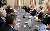 Incoming White House chief of staff Reince Priebus(2-R) is joined by Formers White House Chief of Staff including  Andrew Card , William Daily , Samuel Knox Skinner, John Podesta and Rahm Emanuel (R) during a meeting in the Chief of Staff office of the White House in Washington, DC, December 16, 2016.  <br /> Credit: Olivier Douliery / Pool via CNP