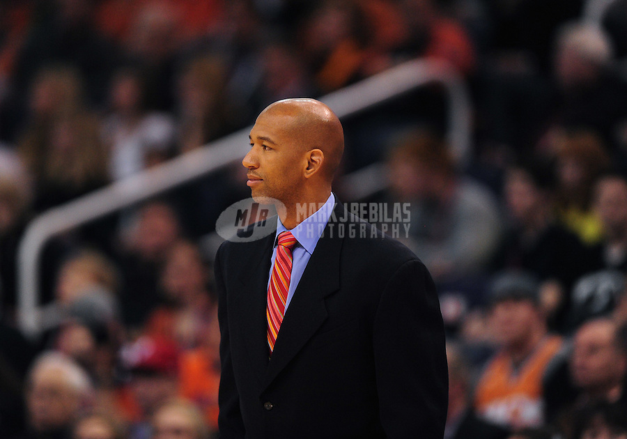 Dec. 26, 2011; Phoenix, AZ, USA; New Orleans Hornets head coach Monty Williams during game against the Phoenix Suns at the US Airways Center. The Hornets defeated the Suns 85-84. Mandatory Credit: Mark J. Rebilas-USA TODAY Sports