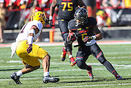 College Park, MD - October 15, 2016: Maryland Terrapins running back Ty Johnson (6) tries to avoid the tackle by a Minnesota Golden Gophers defender during game between Minnesota and Maryland at  Capital One Field at Maryland Stadium in College Park, MD.  (Photo by Elliott Brown/Media Images International)