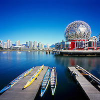 City of Vancouver Skyline and Telus World of Science (aka Science World) at False Creek, Vancouver, British Columbia, Canada - Renovation at Science World completed in 2012.